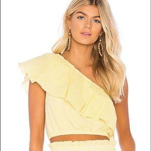 Yellow one shoulder top!